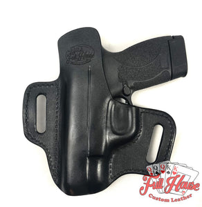 Smith & Wesson M&P Shield 9mm - Black Leather Pancake Holster (OWB) - Full House Custom Leather
