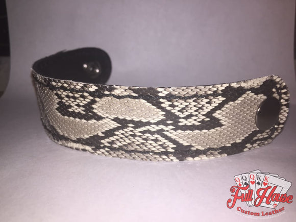 SnakeSkin - Leather Wrist Cuff - Full House Custom Leather