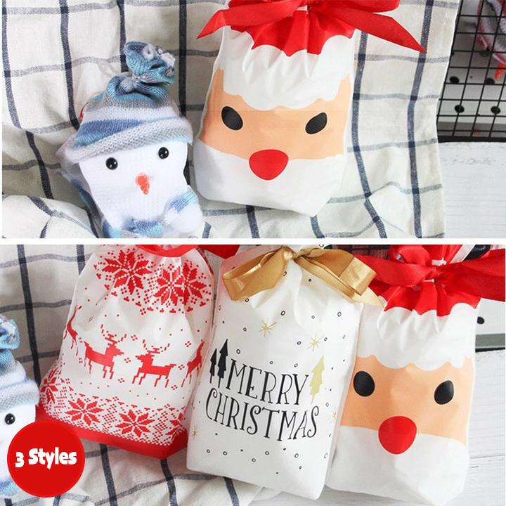 Merry Christmas Drawstring Gift Bags (10 Pcs)