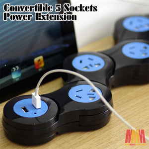Convertible 5 Sockets Power Extension