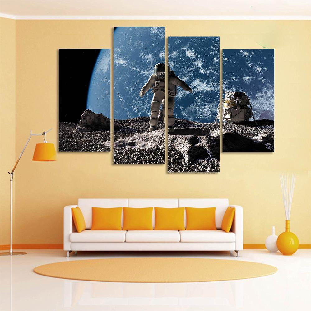 Astronaut Canvas Walking Moon Earth Light Wall Painting Art - 4 ...