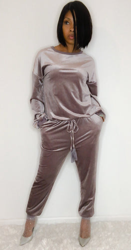 """Lavish"" Velour Jumpsuit"