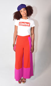 """Blocked"" Wide Leg Pants"