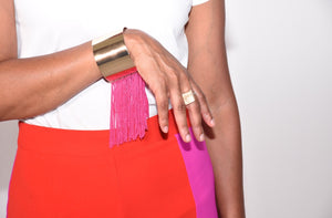 Gold and Pink Fringe Cuff Bracelet