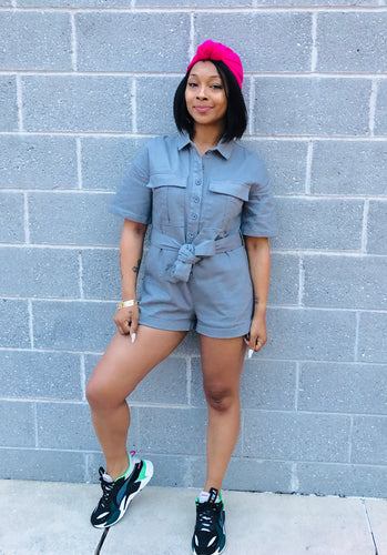 Break Out Grey Denim Romper