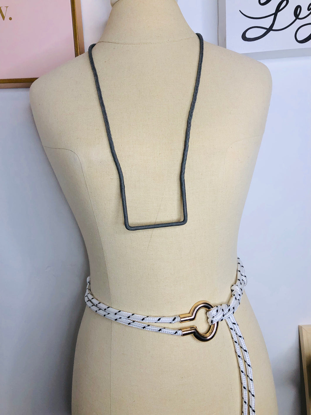 Straight Path Grey Necklace