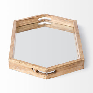 Wood & Mirror Hex Tray