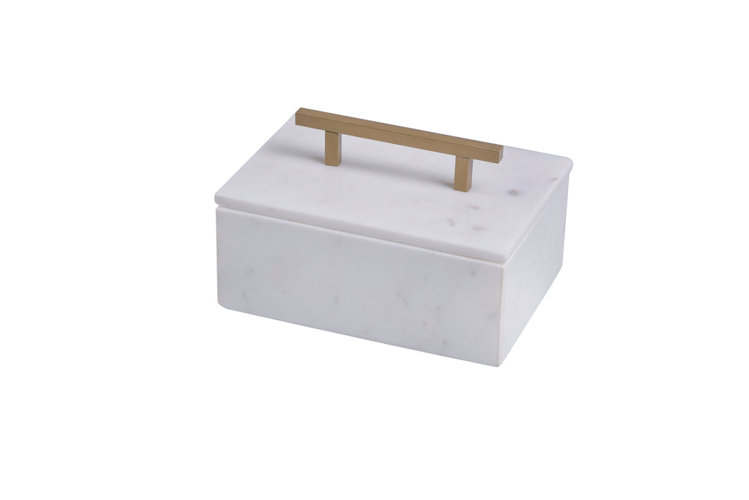Marble Box with Gold Metal Handle
