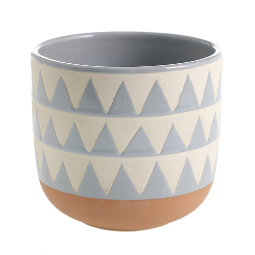 Sully Blue and White Geometric Pot