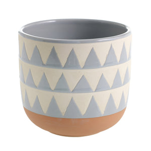 Blue and White Geometric Pot
