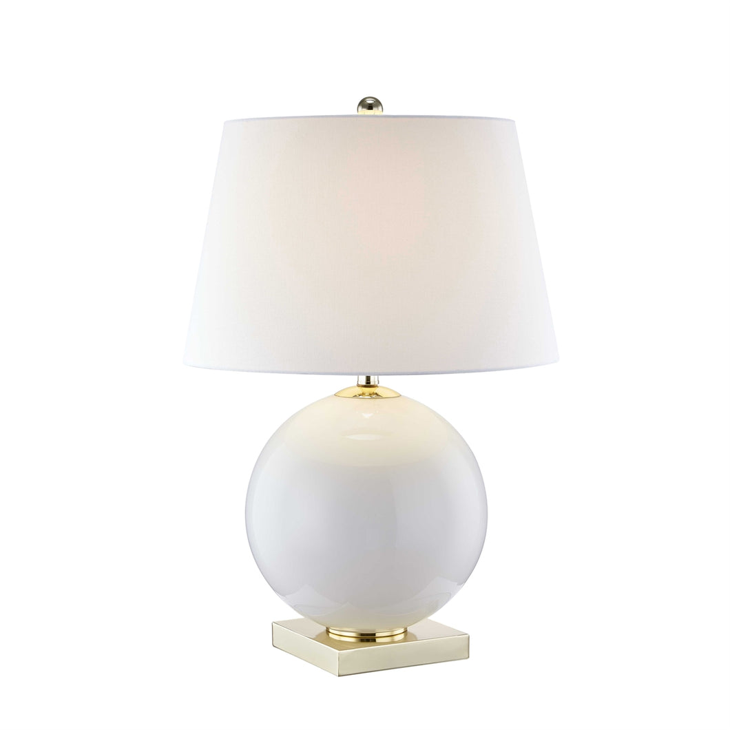 Round White Glass Table Lamp