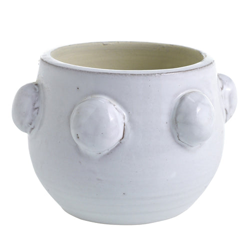 Small Terra Cotta White Dots Planter