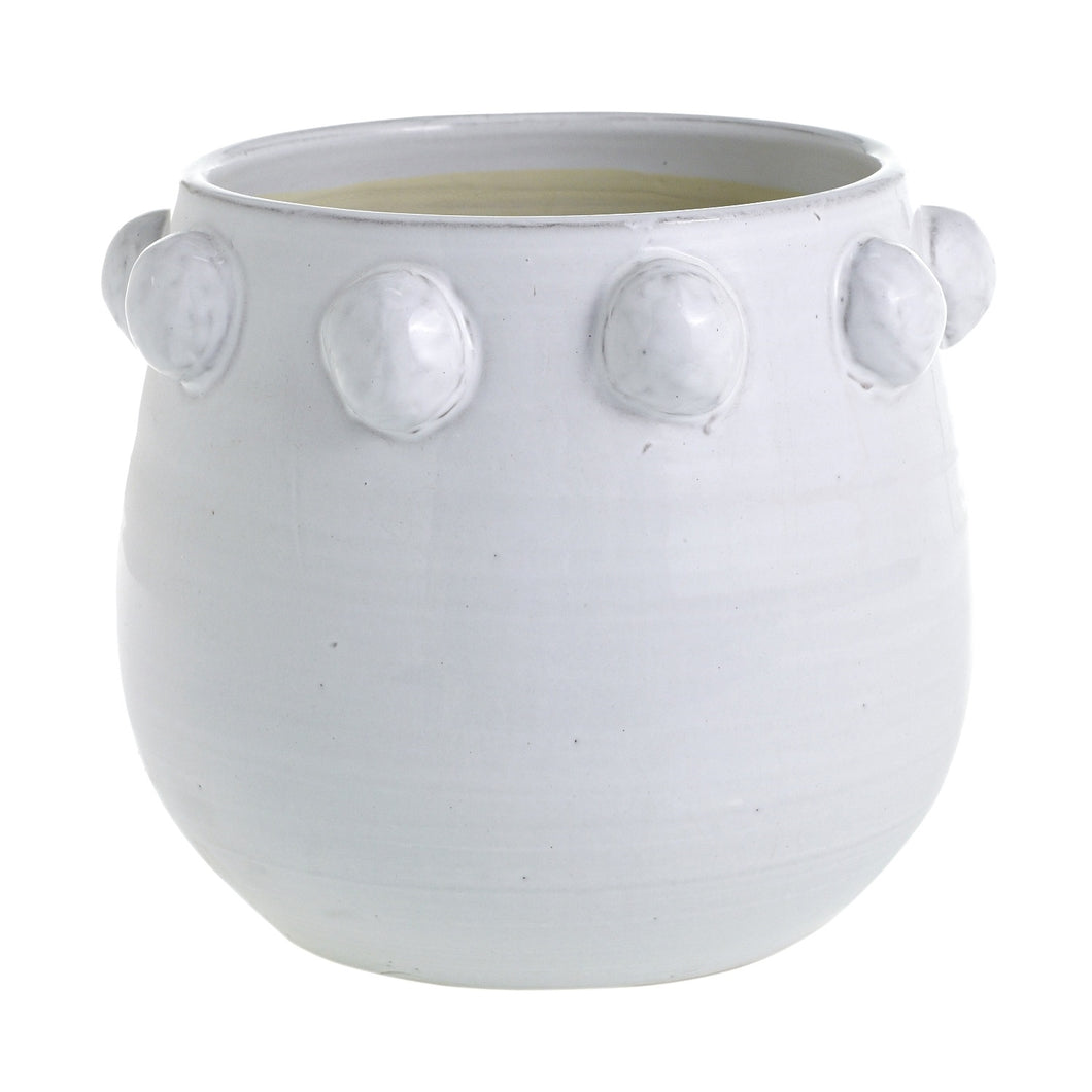 Large Terra Cotta White Dots Pot