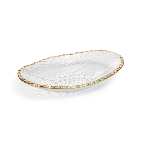 Oval Textured Bowl with Gold Rim