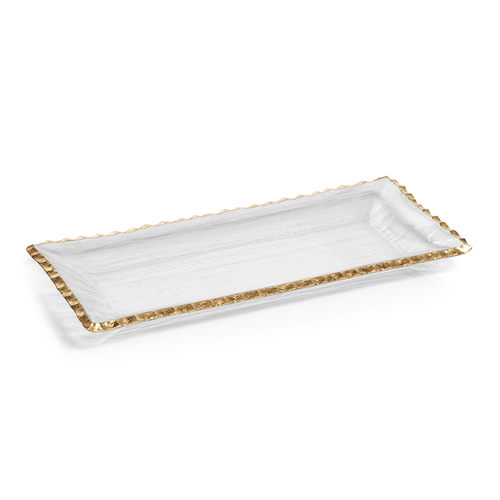 Textured Rectangular Tray with Gold Rim