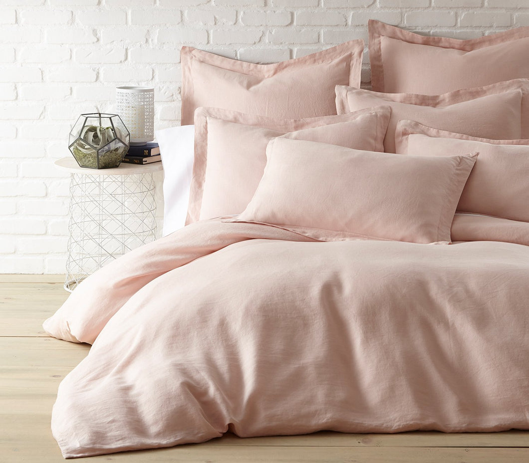 Blush Washed Linen Duvet Cover