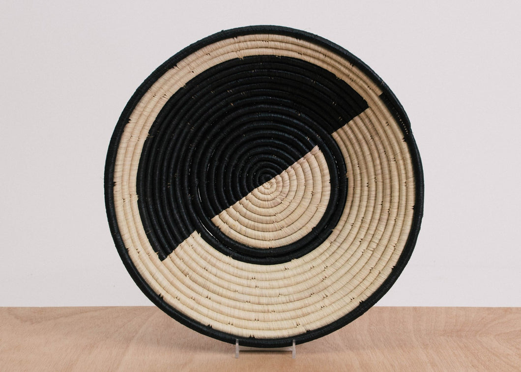Extra Large Geo Black Raffia Bowl