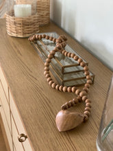Wood Hand-Carved Bead Strand w/ Heart