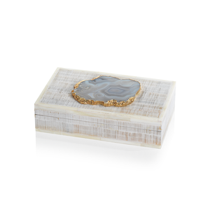 Chiseled Mangowood and Bone Box with Agate Stone