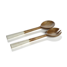 Wood and Marble Salad Server