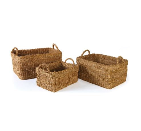 Rectangular Seagrass Basket with Handles