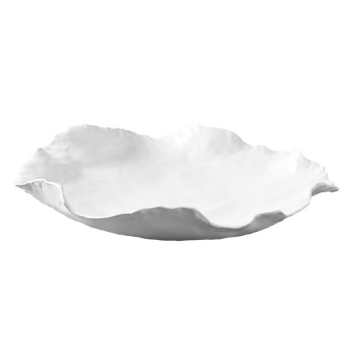 Ceramic White Wavy Bowl, Large