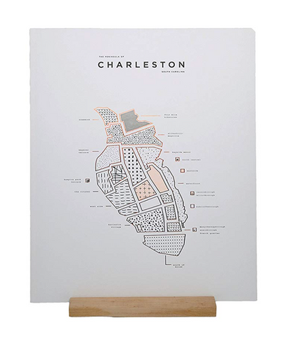 42 Pressed Charleston Peninsula Print