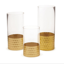 Gold Beehive Piller Candle Holder, Set of 3