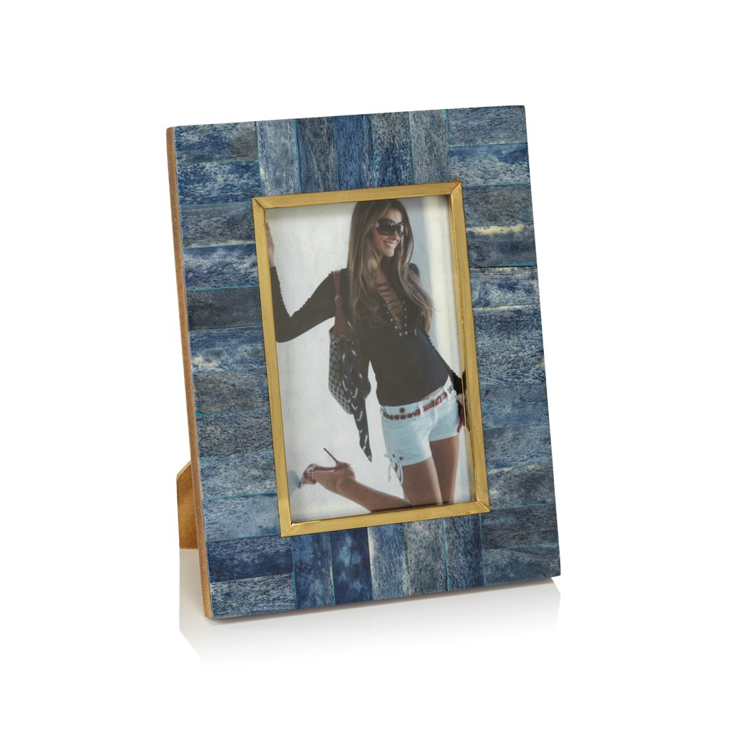 Biarritz Blue Bone Photo Frame with Inner Brass Trim, 5x7