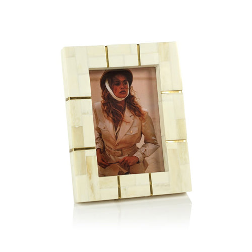 St. Ives Bone Inlaid Photo Frame with Brass Detail, 5x7