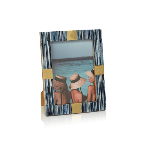 Palermo Blue Bone Inlay Photo Frame with Brass Trim, 5x7
