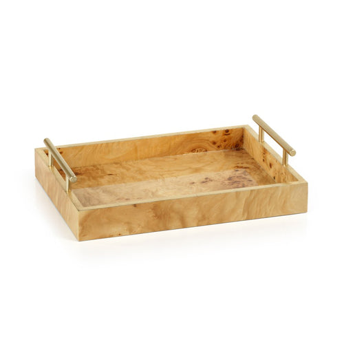 Medium Burl Wood Rectangular Tray