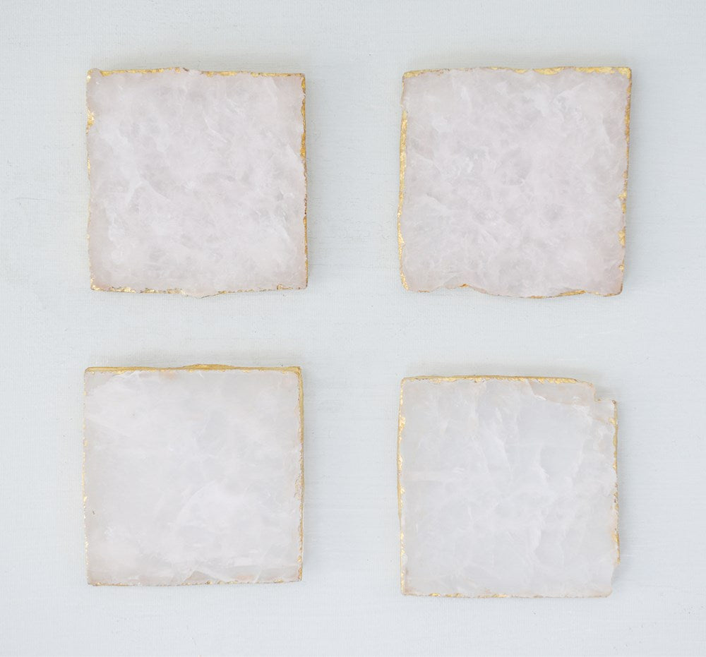 Square Agate Coasters w/ Gold Foil Trim