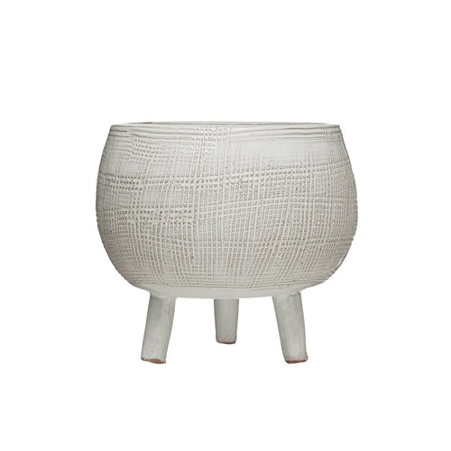 White Footed Terra Cotta Planter
