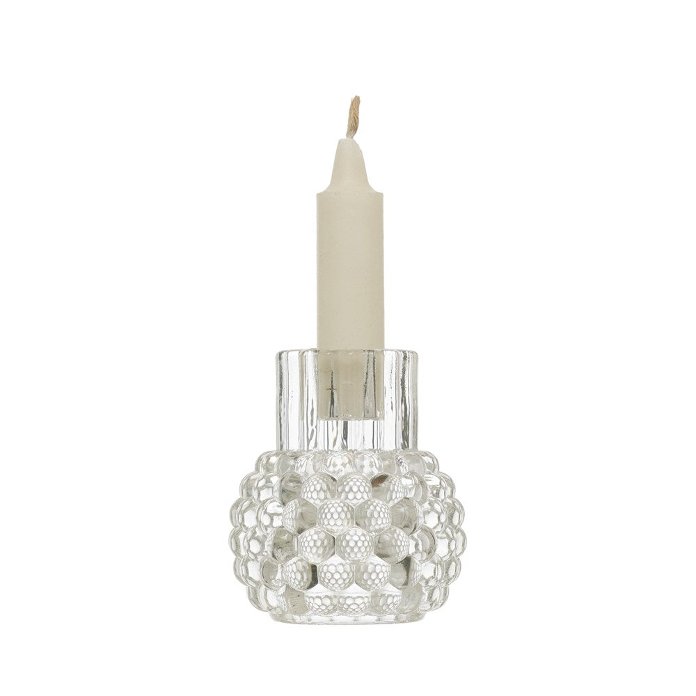 Glass Hobnail Candle Holder
