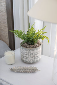 Grey Patterned Stoneware Planter