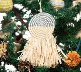 Half Silver Metallic Fringed Disc Ornament