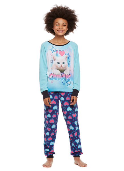 Girls 2-Piece Pajama Set, Thermal Long-Sleeve Top and Fleece Jogger Pants, Aqua Cat