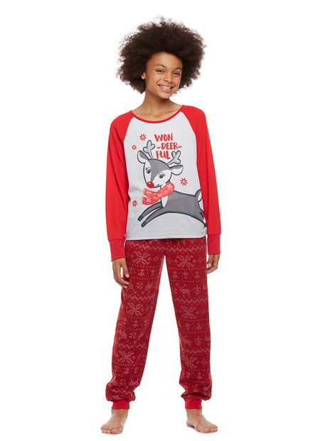 Girls 2-Piece Knit Pajamas Short Set, by Jellifish Kids