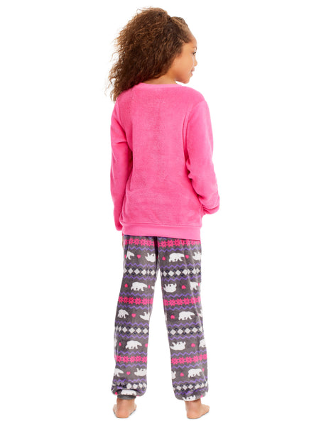 GIRLS 2 PIECE PAJAMA SET - LONG SLEEVE TOP WITH APPLIQUE & PJ PANTS
