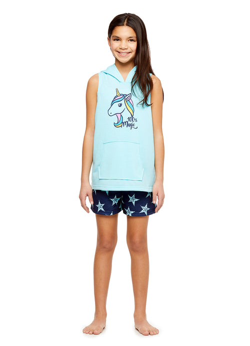 Aqua Unicorn Girls 2-Piece Hooded Knit Character PJs Short Set