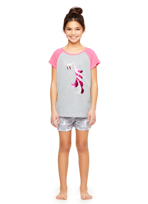 Girls 2-Piece Knit Pajamas Short Set, by Jellifish Kids Unicorn