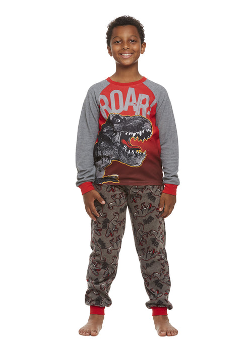 Grey Dino Boys 2-Piece Pajama Set, Long-Sleeve Thermal Top & Fleece Jogger Pants