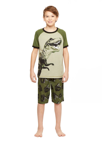 Boys 2-Piece Knit Pajamas Shorts Set, by Jellifish Kids Dino
