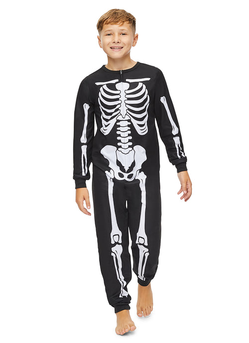Boys Pajamas | Plush Zippered Skeleton Onesie