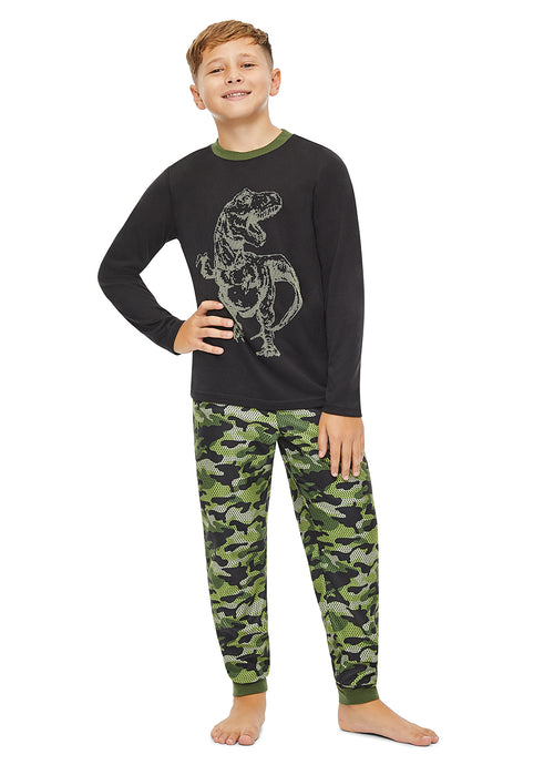 Boys 3 Piece Pajama Set | Dino Print Sleep Top, Jogger Pants and Shorts