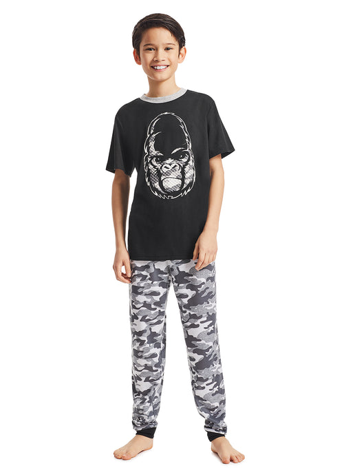 Boys 3-Piece Pajama Set | Black Gorilla Puff Print Sleep Top, Jogger Pants and Shorts