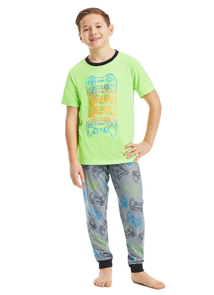 Boys 3-Piece Pajama Set | Lime Gaming Puff Print Sleep Top, Jogger Pants and Shorts