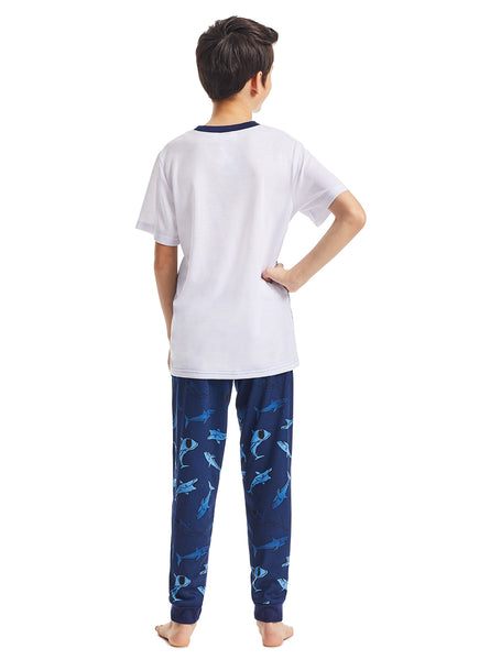 Boys 3-Piece Pajama Set | White Shark Glow in the Dark Print Sleep Top, Jogger Pants and Shorts