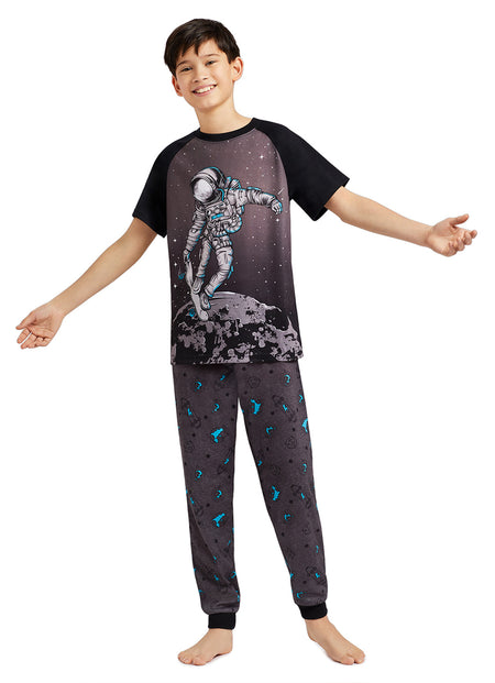 Boys 3-Piece Pajama Set | Skull Print Top, Jogger Pants & Shorts
